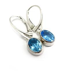 topaz,blask,błękitny,srebrne,oko,mineralne,sztyfty - Kolczyki - Biżuteria