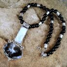 Wisiory srebrny wisior z dendrytowym i księzycowym