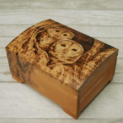 pirografia,wymalanie na drewnie,szkatułka,sowy - Pudełka - Wyposażenie wnętrz