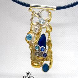 Wisior Srebrny z Opalem i Topazami - Wisiory - Biżuteria