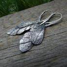 Kolczyki srebrne,oksydowane,surowe,liście,ważka,skrzydła