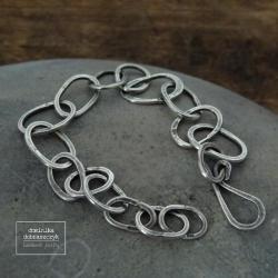 srebro,łańcuch,surowa,925,oksydowana - Bransoletki - Biżuteria