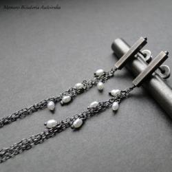 srebro,perły,sztyfty,lekkie,długie,delikatne - Kolczyki - Biżuteria