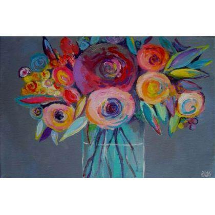 Kwiatyabstrakcjaczerwieńróżzieleń Obrazy Wyposażenie Wnętrz