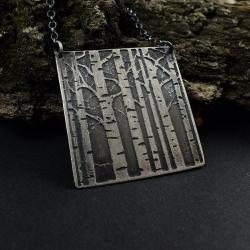 wisior,naszyjnik,brzozy,trawiony,srebrny,wzór - Naszyjniki - Biżuteria