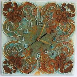 zegar,rdza,patyna,ornamenty,brąz,turkus - Inne - Wyposażenie wnętrz