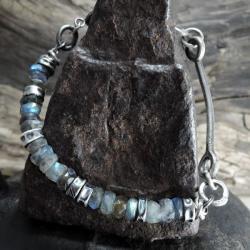 Srebrna bransoleta z fasetowanymi labradorytami - Bransoletki - Biżuteria