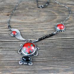 żuk,owad,emalia,naszyjnik czerwony, - Naszyjniki - Biżuteria