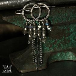 kolczyki srebrne,labradoryt - Kolczyki - Biżuteria