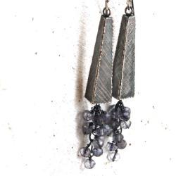 srebrne kolczyki z iolitami - Kolczyki - Biżuteria