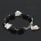Bransoletki lawa,perły,czarno-białe,czerń i biel,kontrast,