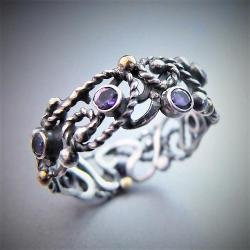 srebrno-złoty pierścionek z ametystami - Pierścionki - Biżuteria