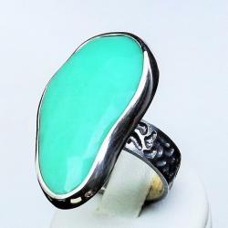 pierścionki srebrne,srebro,chryzopraz - Pierścionki - Biżuteria