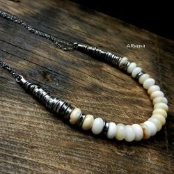 klasyczny naszyjnik,naszyjnik z opali - Naszyjniki - Biżuteria