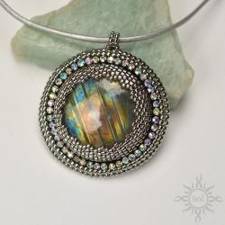 multikolor,kosmos,ogień,srebrny,medalion,okrągły - Wisiory - Biżuteria