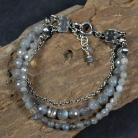 Bransoletki bransoleta w szarościach,z kamieni,srebrna
