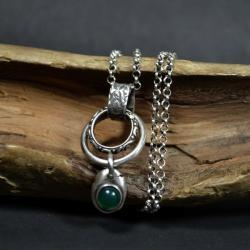 naszyjnik z kołami,w butelkowej zieleni - Naszyjniki - Biżuteria