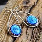 Kolczyki srebro,kolczyk,szkło dichroiczne,kropla,błękit
