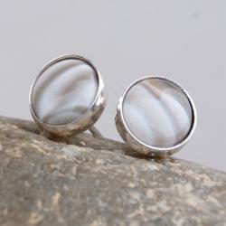 drobinki,kolczyki,sztyfty,srebrne,krzemieńpasiasty - Kolczyki - Biżuteria