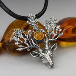 jelonek,jeleń,srebrny jeleń,bursztyn,poroże - Wisiory - Biżuteria