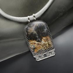 naszyjnik,z agatem,geometryczny,na rzemieniu - Naszyjniki - Biżuteria