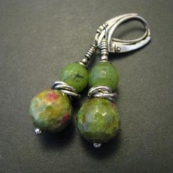 kolczyki,zielone,fuksyt,kulki - Kolczyki - Biżuteria