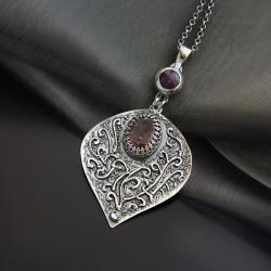 wisior,srebrny,z fioletowym labradorytemkwarcem, - Wisiory - Biżuteria