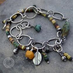 dwie,srebro,kuta,oksyda,łańcuch,boho, - Bransoletki - Biżuteria