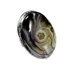 agat,geoda,srebrny,srebro,szarości,naturalny, - Pierścionki - Biżuteria
