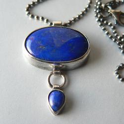 lapis lazuli,z lapisem lazuli,srebro oksydowane, - Wisiory - Biżuteria