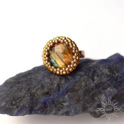 okrągły,labradoryt,ogień,złoty,efektowny,fasetowan - Pierścionki - Biżuteria
