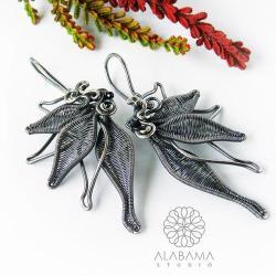 srebrne kolczyki kwiaty,alabama studio - Kolczyki - Biżuteria