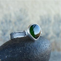 zielony kamień,diopsyd,pierścioneczek - Pierścionki - Biżuteria