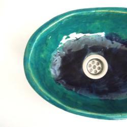 umywalka,umywalka do łazienki,umywalka turkusowa - Ceramika i szkło - Wyposażenie wnętrz