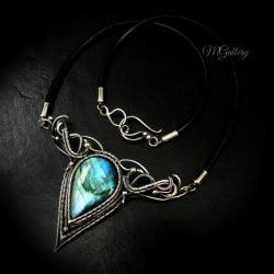 Srebrny naszyjnik z labradorytem,wire wrapping - Naszyjniki - Biżuteria