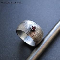 srebro,rodolit,obrączka,oksydowana - Pierścionki - Biżuteria