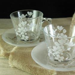 kwiat wiśni,filiżanki,piaskowanie - Ceramika i szkło - Wyposażenie wnętrz