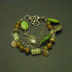 bransoletka,zielona,masywna,oksydowana - Breloki - Biżuteria