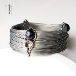 bransoleta srebrna,wire wrapping,perły - Bransoletki - Biżuteria