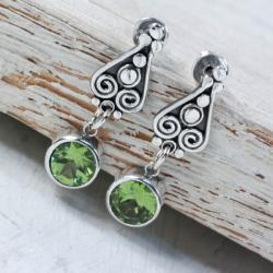 Srebrne kolczyki z oliwinem - Kolczyki - Biżuteria
