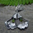 Kolczyki srebrne,lekkie,długie,srebrny liść,zielone