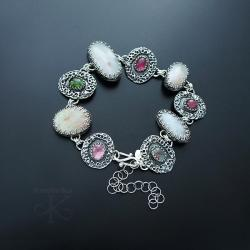 bransoletka,srebrna,z opalem,z turmalinami - Bransoletki - Biżuteria