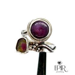 Pierścionek Srebrny z Rubinem i Turmalinem - Pierścionki - Biżuteria