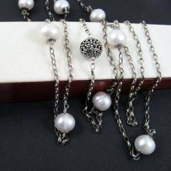 perłowy,długi - Naszyjniki - Biżuteria