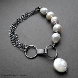 srebro,perły,białe,surowe,oksydowane - Bransoletki - Biżuteria