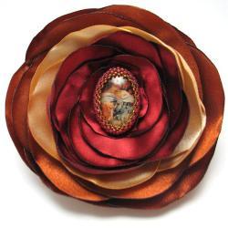 broszka,secesja,haft koralikowy,ruda, - Broszki - Biżuteria