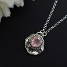 Naszyjniki delikatny,surowy,kwarc różowy,romantyczny,srebrny