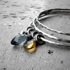 Bransoletki kolorowe,grzechoczące,srebrne,eleganckie,komplet