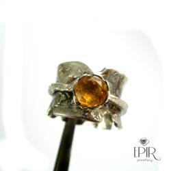 obrączka srebrna z cytrynem - Pierścionki - Biżuteria