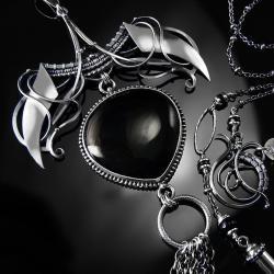 srebrny,naszyjnik,wire-wrapping,onyks,czarny,ciba - Naszyjniki - Biżuteria